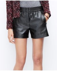 Ann Taylor Faux Leather Shorts - Lyst