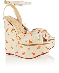 Charlotte Olympia Miranda Canvas Wedge Sandals - Lyst