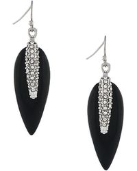 Vince Camuto Silver Spring Recolors Collection Feather Drop Earrings - Metallic