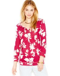 Lucky Brand Jeans Lucky Brand Vine-Print Pleated Blouse - Lyst
