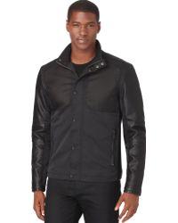 Calvin Klein Faux Leather Mix Media Jacket - Lyst