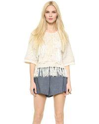 By Malene Birger Josta Fringe Sweater Tee - Cream - Lyst