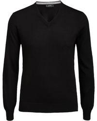 Joseph Merinos Patch V Neck Sweater In Black - Lyst