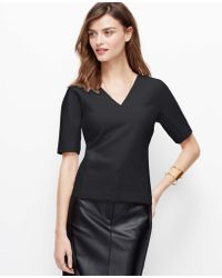 Ann Taylor Seamed Crepe Short Sleeve Top - Lyst