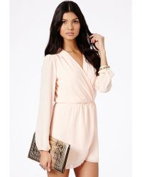 Missguided Maia Chiffon Cross Over Mini Dress in Nude - Lyst