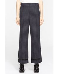 Marc Jacobs Wide Leg Worsted Wool Check Crop Pants blue - Lyst