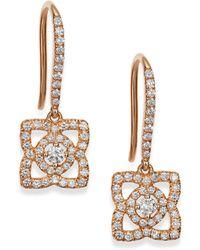 De Beers Enchanted Lotus Diamond & 18K Rose Gold Drop Earrings - Lyst