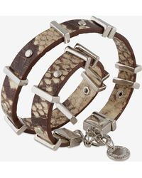 French Connection Riveted Leather Wrap Bracelet animal - Lyst