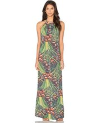 Agua de Coco - Palm Halter Maxi Dress - Lyst
