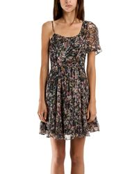 Charlotte Ronson Ruffle Dress In Evergreen Multi - Lyst