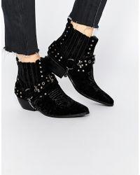YRU Laso Western Ankle Boots - Black Velvet