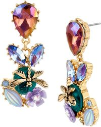 Betsey Johnson Mixed Dragonfly And Stone Cluster Drop Earrings - Multicolour