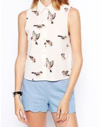 Asos Sleeveless Boxy Blouse In Bird Print - Lyst
