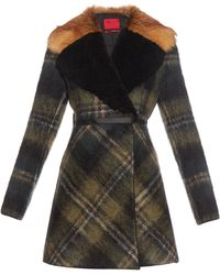 Moncler Gamme Rouge Shearling And Fur-collar Mohair-blend Coat - Brown