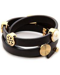 Tory Burch Livia Leather Triple Wrap Bracelet Blackshiny Brass - Lyst