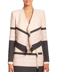 BCBGMAXAZRIA Walker Striped Fringe-Detail Cropped Jacket pink - Lyst