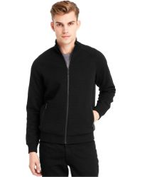 Kenneth Cole Full-Zip Quilted Sweater - Black