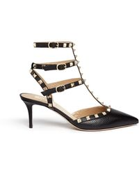 Valentino Rockstud' Caged Leather Pumps - Lyst