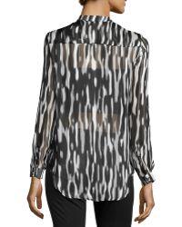 Nikkies Threads - Printed Sheer-stripe Long-sleeve Tunic - Lyst