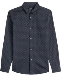 A.P.C. Printed Cotton Button-Down - Lyst