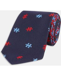 Turnbull & Asser | Slim Falling Puzzle Blue And Red Silk Tie | Lyst