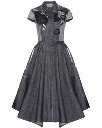 Bottega Veneta Embellished Denim Dress - Lyst