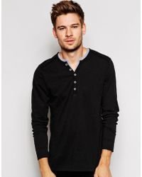 Esprit Long Sleeve Henley Top With Contrast Collar - Lyst