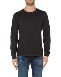 7 For All Mankind - Long Sleeve Raw Crew Neck Tee Cotton Black - Lyst