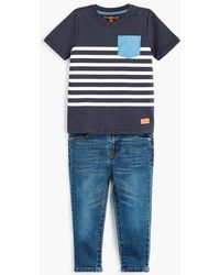 7 For All Mankind - Boy's 2t-4t Crew Neck Tee & Jeans In Deep Well - Lyst