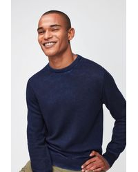 7 For All Mankind Crew Neck Knit Merino Fast Dye Navy - Blue