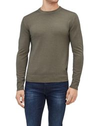 7 For All Mankind - Crew Neck Knit Wool Abrasions Forest Night - Lyst