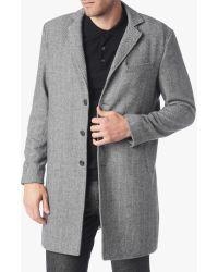 7 For All Mankind - Long Overcoat In Herringbone Grey - Lyst