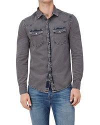 7 For All Mankind - Western Shirt Bleach Grey - Lyst