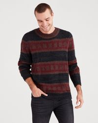 7 For All Mankind Striped Mohair Sweater In Black Brown Stripe