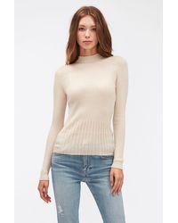 7 For All Mankind Mock Neck Jumper Cashmere Silk Blend Sandcastle - Natural