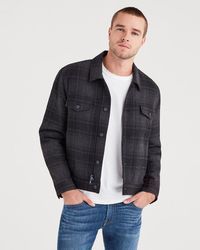 7 For All Mankind - Zip Through Plaid Trucker In Charcoal Plaid - Lyst