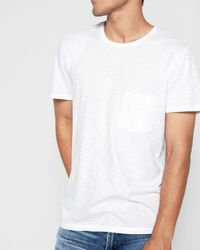 7 For All Mankind - Short Sleeve Raw Pocket Crew In White - Lyst