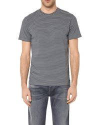 7 For All Mankind - Striped Tee Cotton Slub Navy And Grey - Lyst