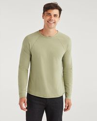 7 For All Mankind Long Sleeve Raglan Shirt In Light Army - Green