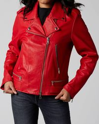 7 For All Mankind Moto Jacket Leather Red