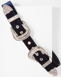 7 For All Mankind - B-low The Belt Bri Bri Velvet Belt In Navy And Silver - Lyst