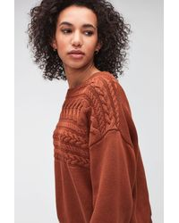 7 For All Mankind Cable Knit Cotton Wool Cinnamon - Multicolour