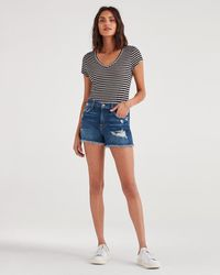 7 For All Mankind High Waist Short With Frayed Hem And Destroy - Blue