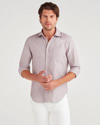 7 For All Mankind Long Sleeve Oxford In Burgundy - Purple