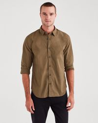 7 For All Mankind Long Sleeve Poplin Shirt In Military Olive - Green