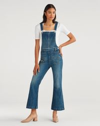 7 For All Mankind - Cropped Georgia Overall In Empire Blue - Lyst