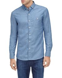 7 For All Mankind - Button Down Shirt Chambray Sky Blue - Lyst