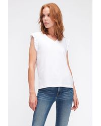 7 For All Mankind Sleeveless V-neck Top Jersey W/sangallo Sleeves White