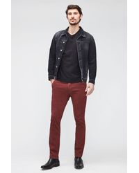 7 For All Mankind Slimmy Chino Tap. Luxe Performance Sateen Burgundy - Red