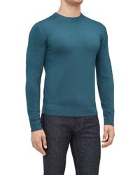 7 For All Mankind - Crew Neck Knit Wool Abrasions Deep Teal - Lyst
